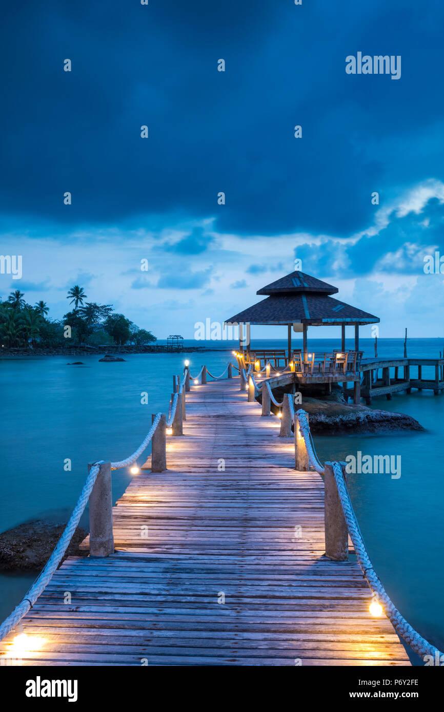 Tropical beach on an Island nr Ko Chang, Thailand - Stock Image