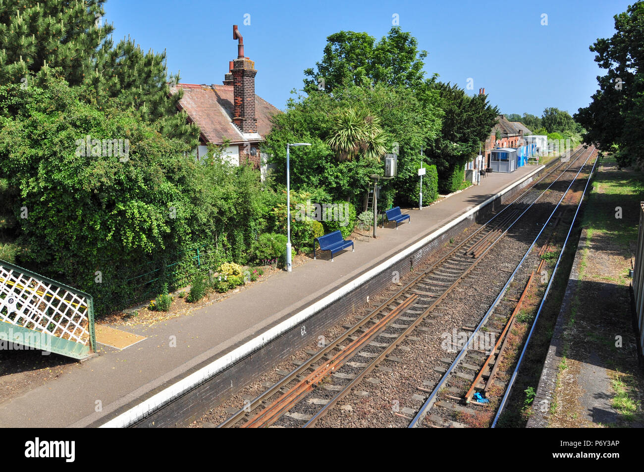 Trimley railway station (serving the village of Trimley St Mary), on the Felixstowe branch, Suffolk, England, UK - Stock Image