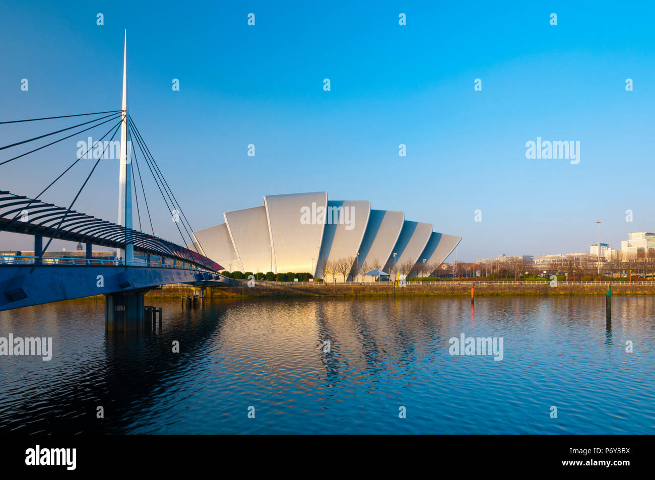 UK, Scotland, Glasgow, Scottish Exhibition and Conference Centre SECC, or Armadillo, beside River Clyde - Stock Image
