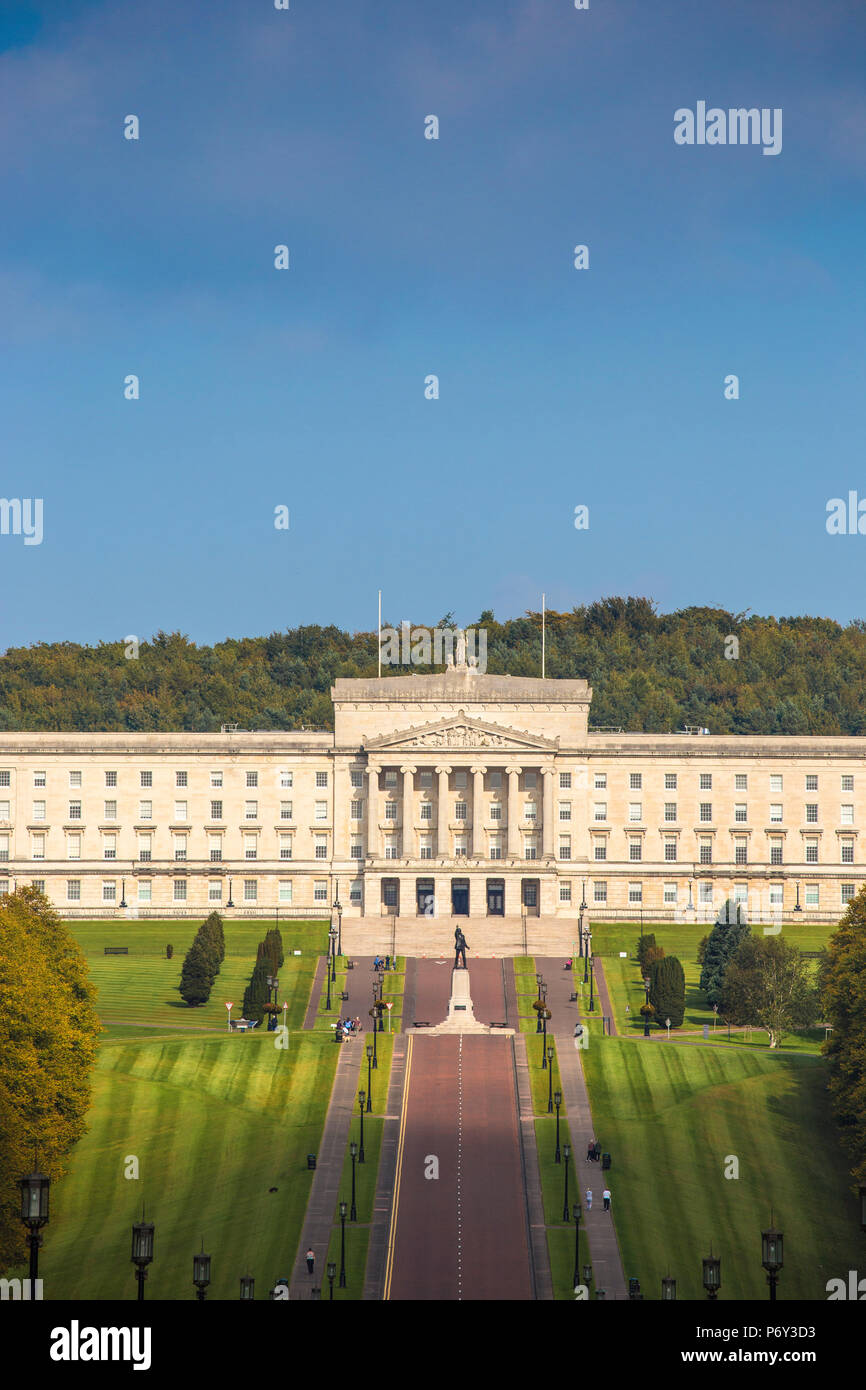 United Kingdom, Northern Ireland, Belfast, Stormont Parliament Buildings home to the Northern Ireland Assembly - Stock Image