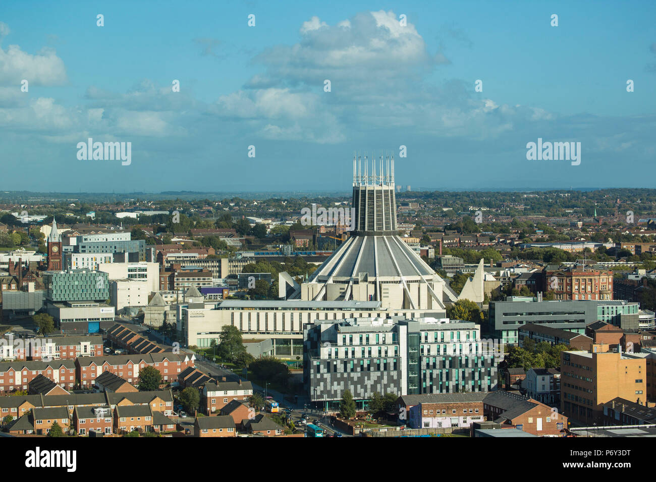 England, Merseyside, Liverpool, View of City looking towards the  Metropolitan Cathderal - Stock Image