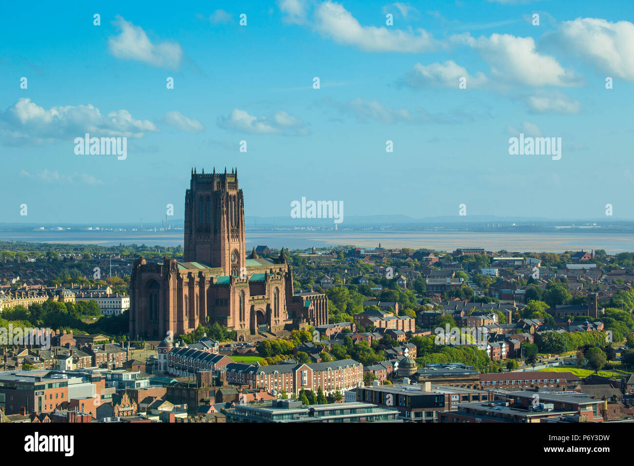 England, Merseyside, Liverpool, View of Liverpool Cathedral built on St James Mount - Stock Image
