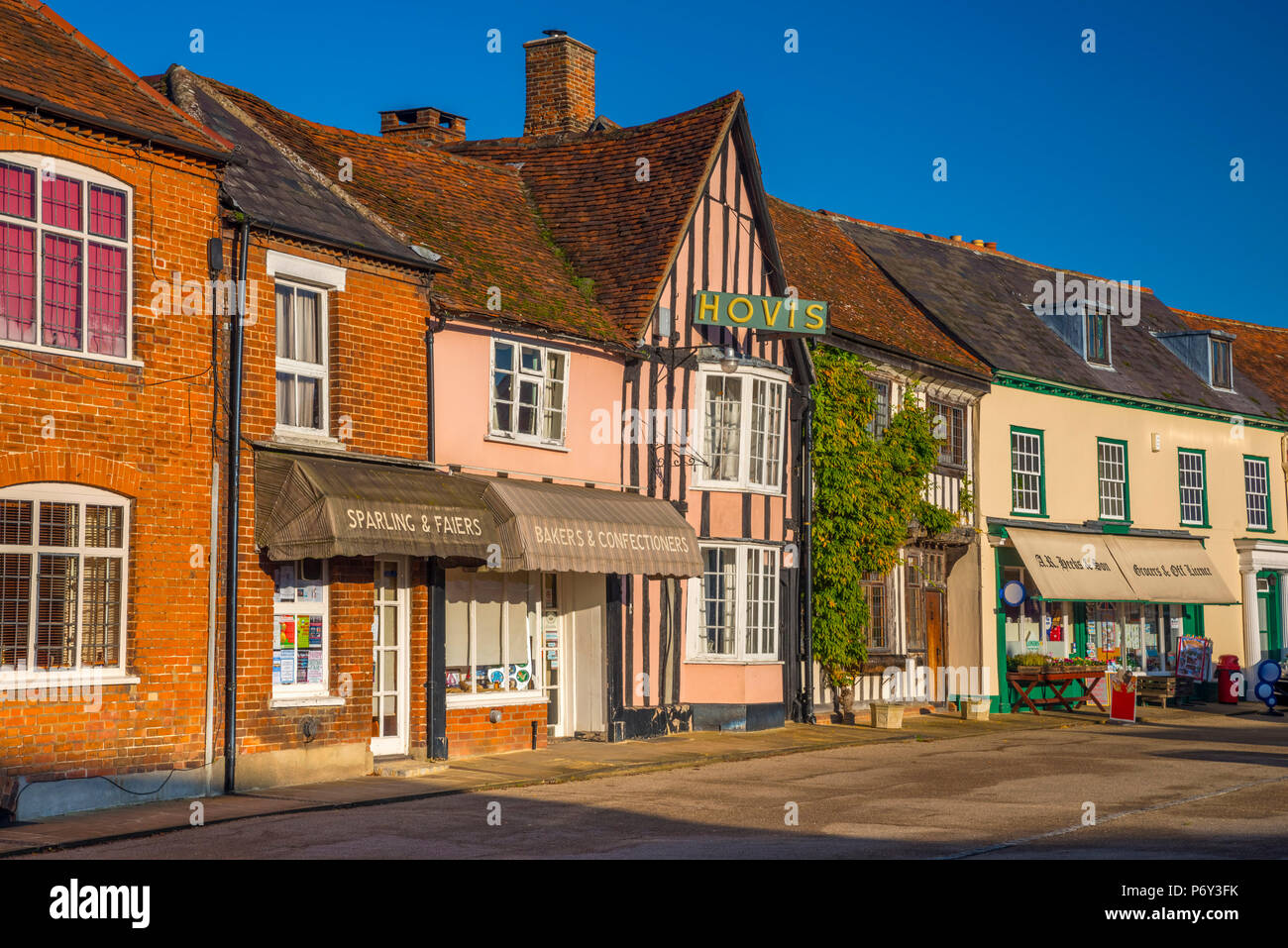 UK, England, Suffolk, Lavenham, Market Lane Stock Photo