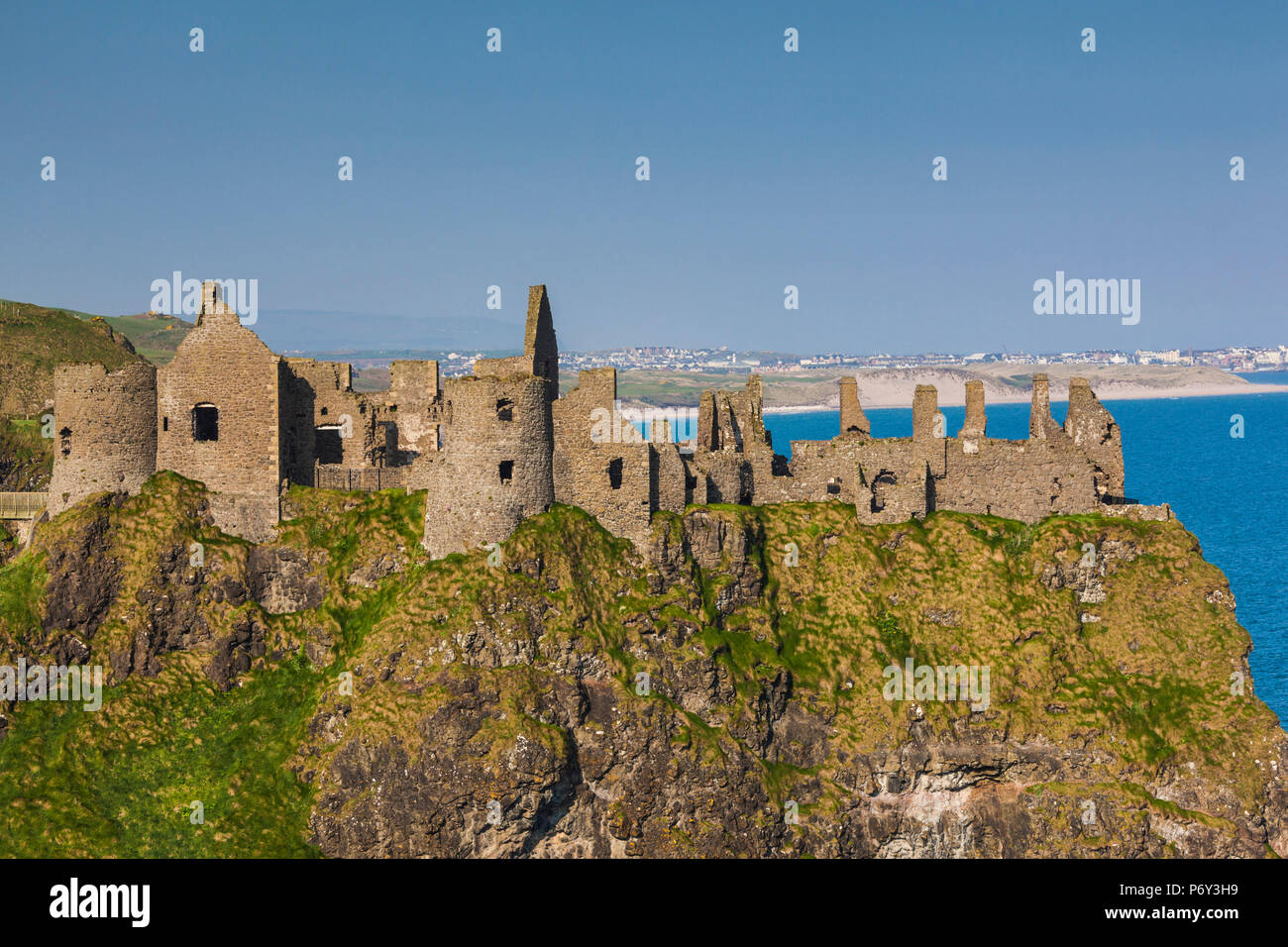 UK, Northern Ireland, County Antrim, Bushmills, Dunluce Castle ruins Stock Photo