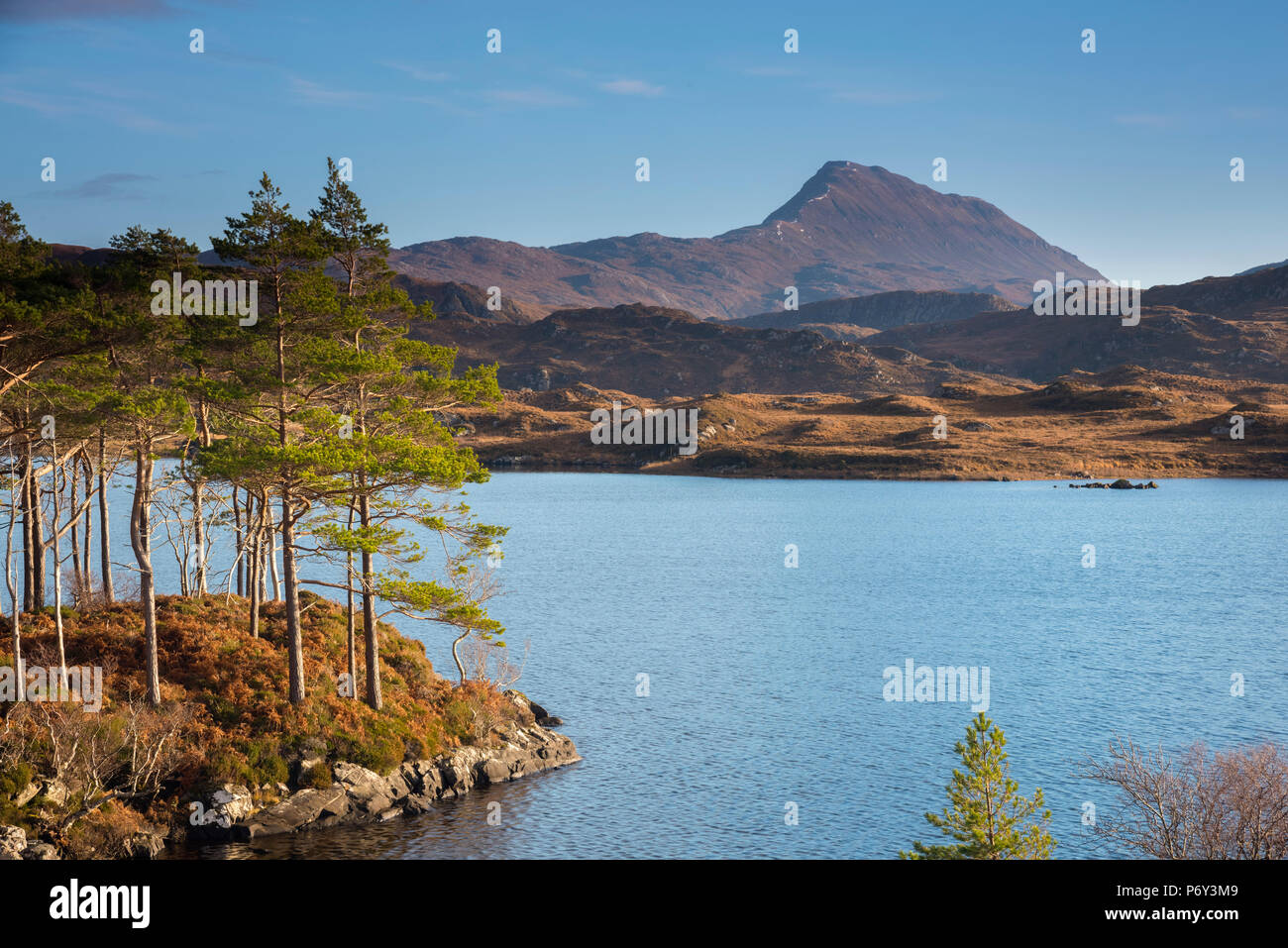 UK, Scotland, Highland, Sutherland, Lochinver, Loch Druim Suardalain, Mount Canisp Stock Photo