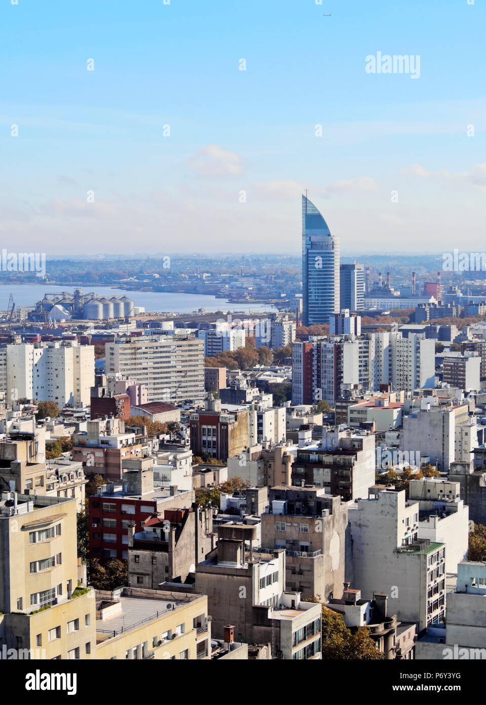 Uruguay, Montevideo, Cityscape viewed from the City Hall(Intendencia de Montevideo). Stock Photo