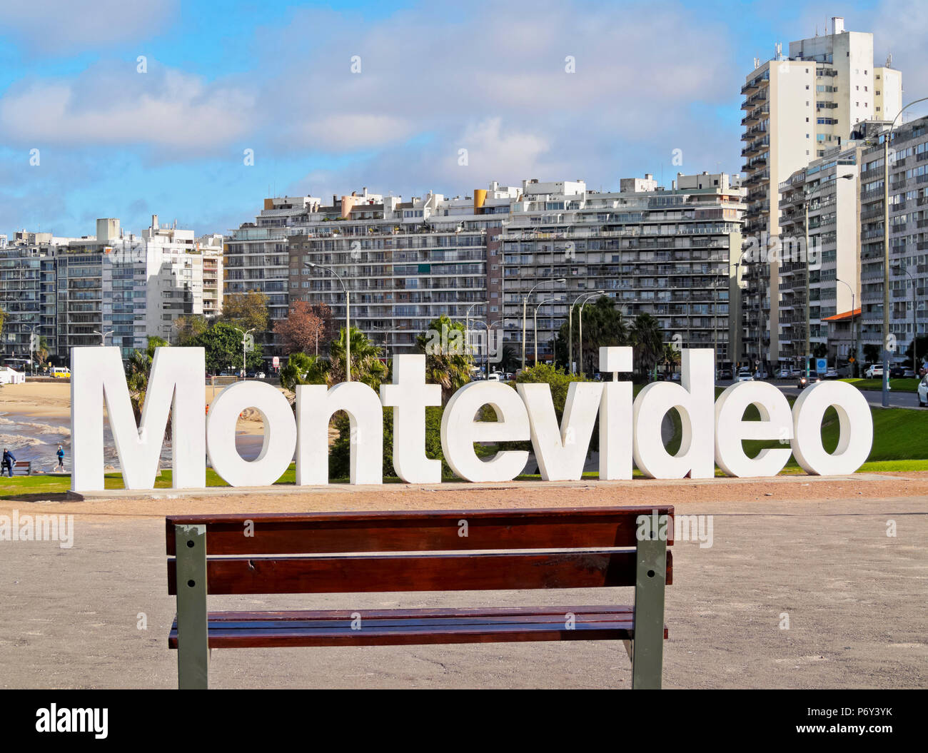Uruguay, Montevideo, Pocitos, View of the Montevideo Sign. - Stock Image