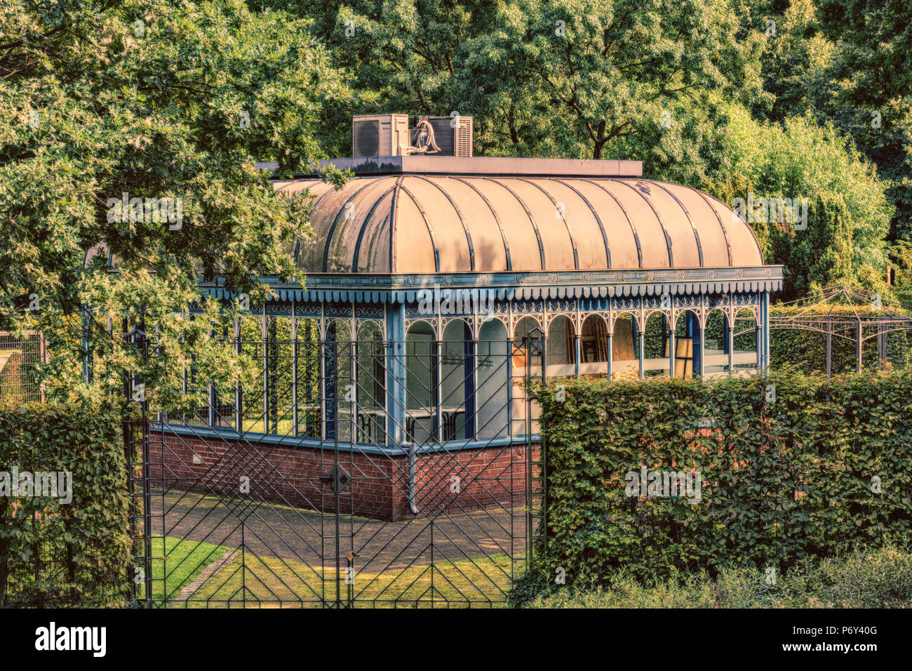Tourainer pavilion in the city park of the city of Mülheim in Germany. - Stock Image