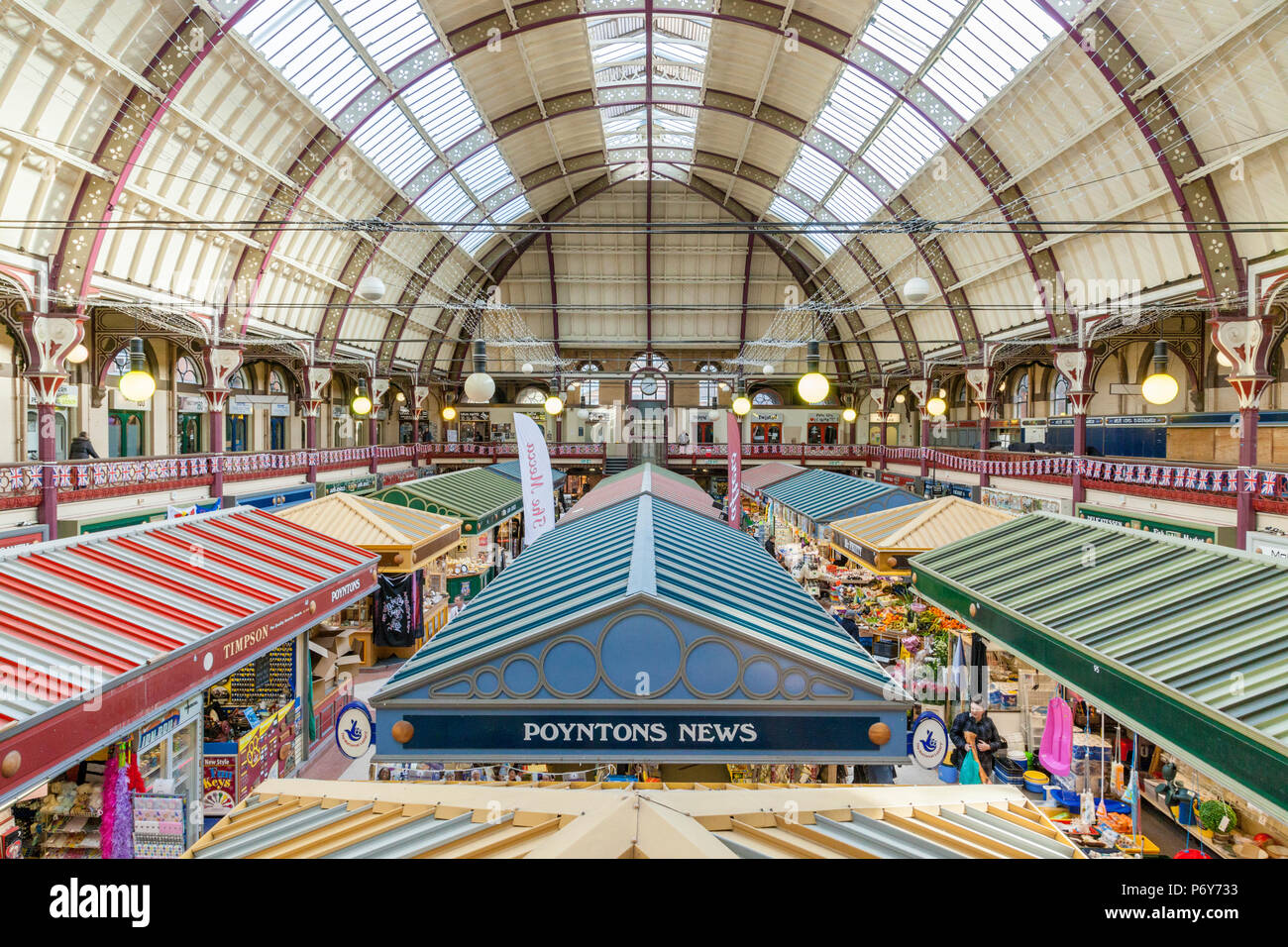 19th century architecture. The Victorian Grade II listed building interior of Derby Market Hall, Derby, England, UK - Stock Image