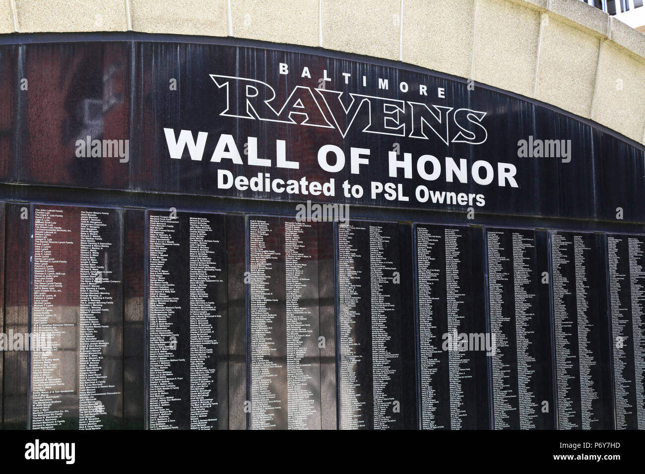 Baltimore Ravens American football team Wall of Honor outside M&T Bank Stadium, Camden Yards, Baltimore, Maryland, USA - Stock Image
