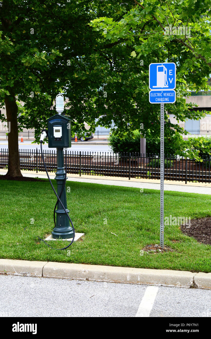 Electric vehicle charging station, Camden Yards, Baltimore, Maryland, USA Stock Photo