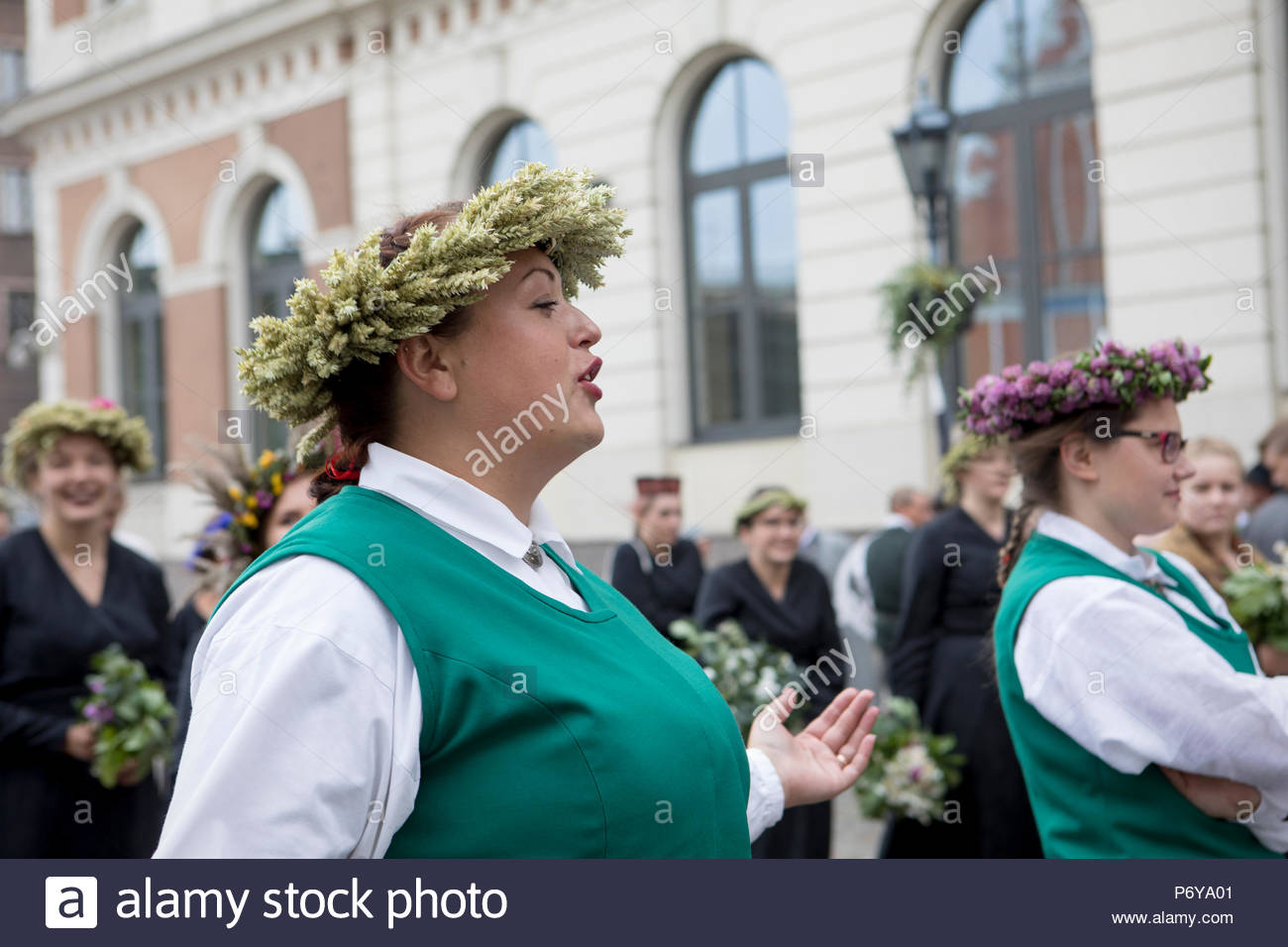 The annual Song and Dance festival takes place in Riga on the 1st week of July. In 2018, Latvia also celebrates the 100th anniversary of its birth. - Stock Image
