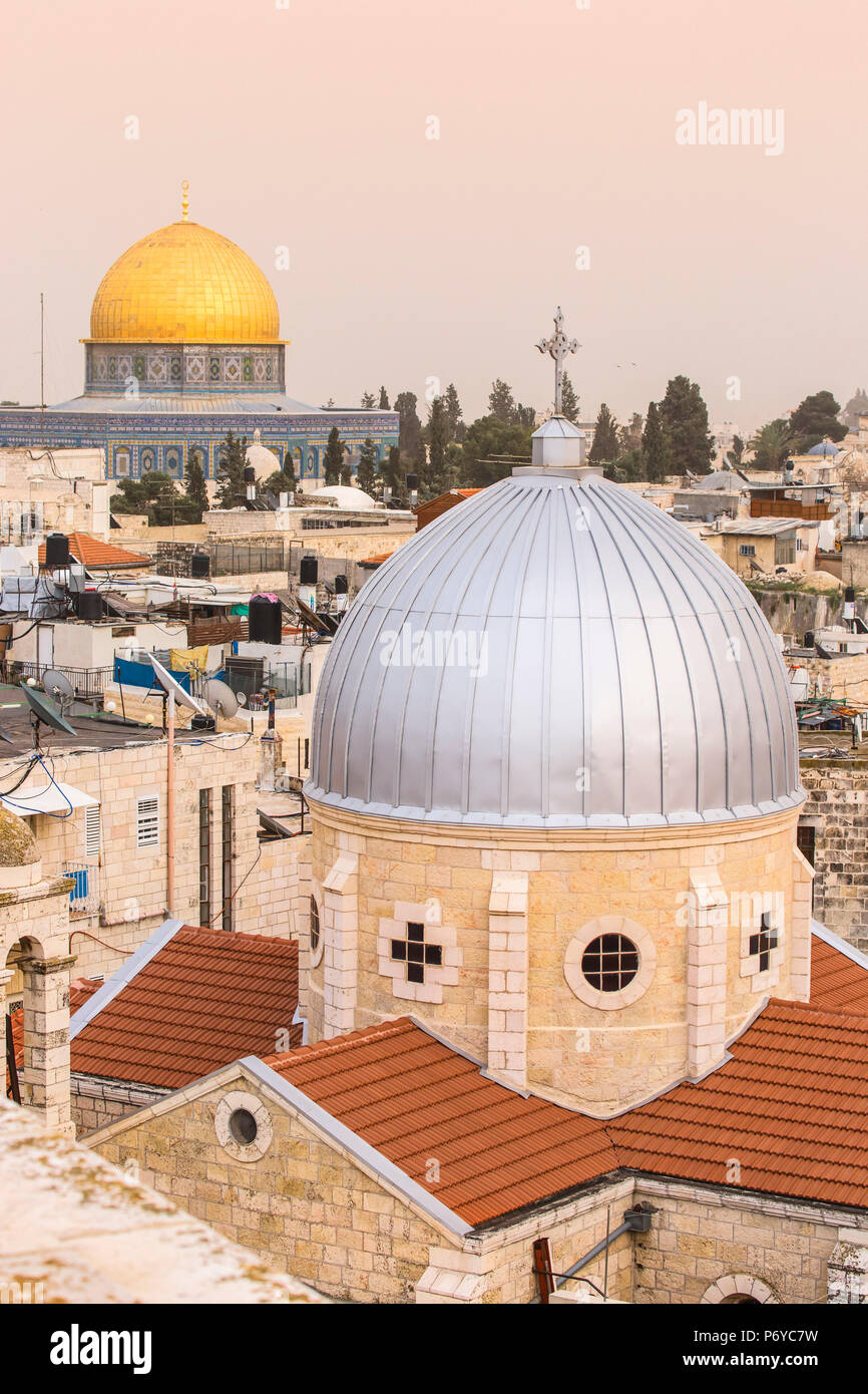 Israel, Jerusalem, View of Dome of the Rock and the Old Town - Stock Image