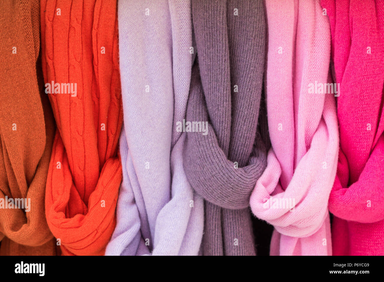 Colorful Wool scarf. - Stock Image