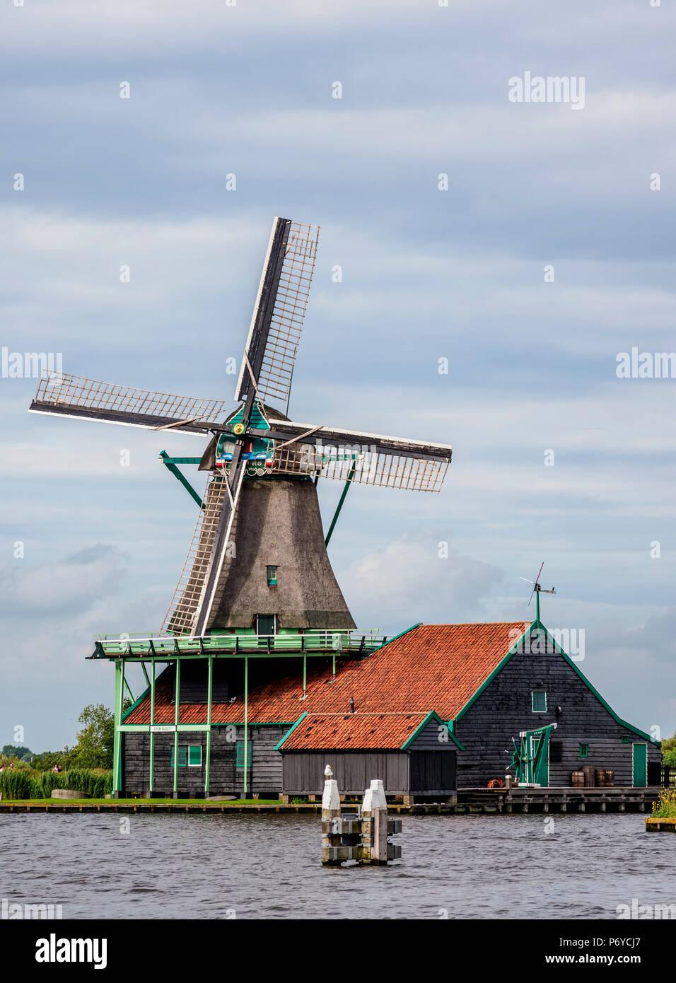 Windmill in Zaanse Schans, Zaandam, North Holland, The Netherlands - Stock Image