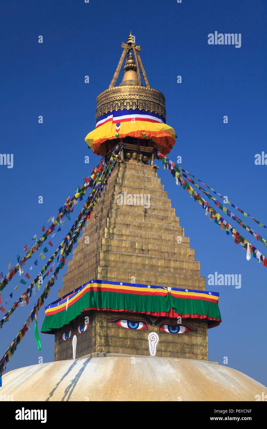 Nepal, Kathmandu, Bodhnath (Boudha) Stupa - Stock Image