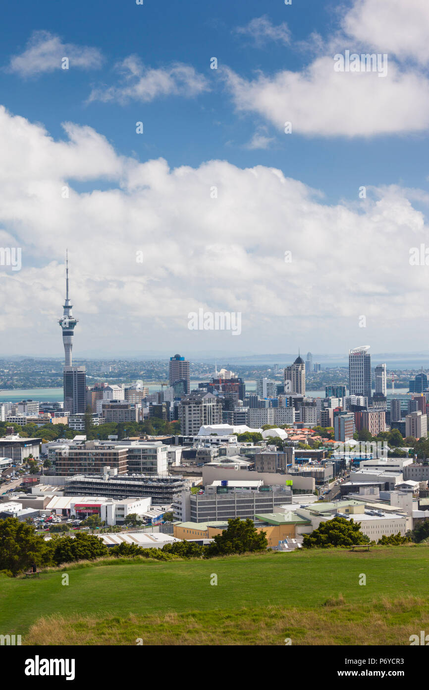 New Zealand, North Island, Auckland, elevated skyline from Mt. Eden volcano cone - Stock Image