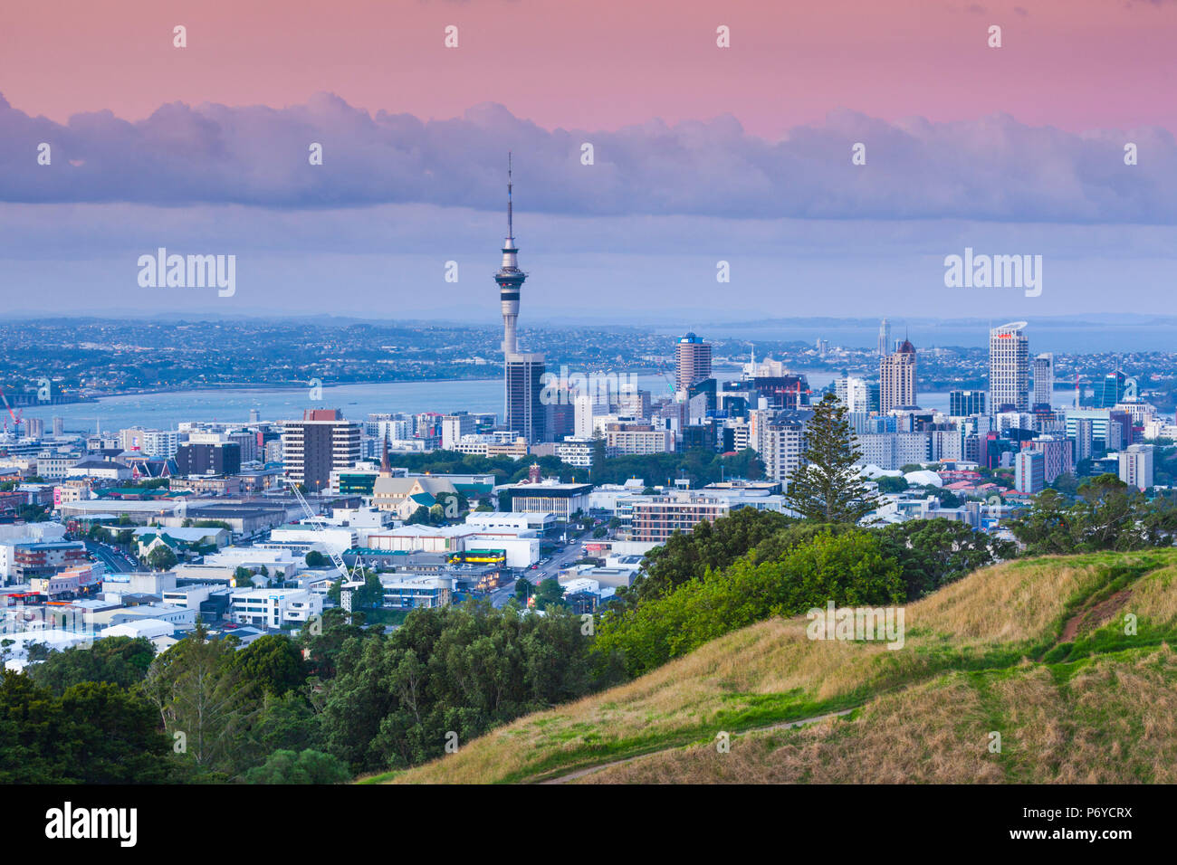 New Zealand, North Island, Auckland, elevated skyline from Mt. Eden volcano cone, dusk - Stock Image