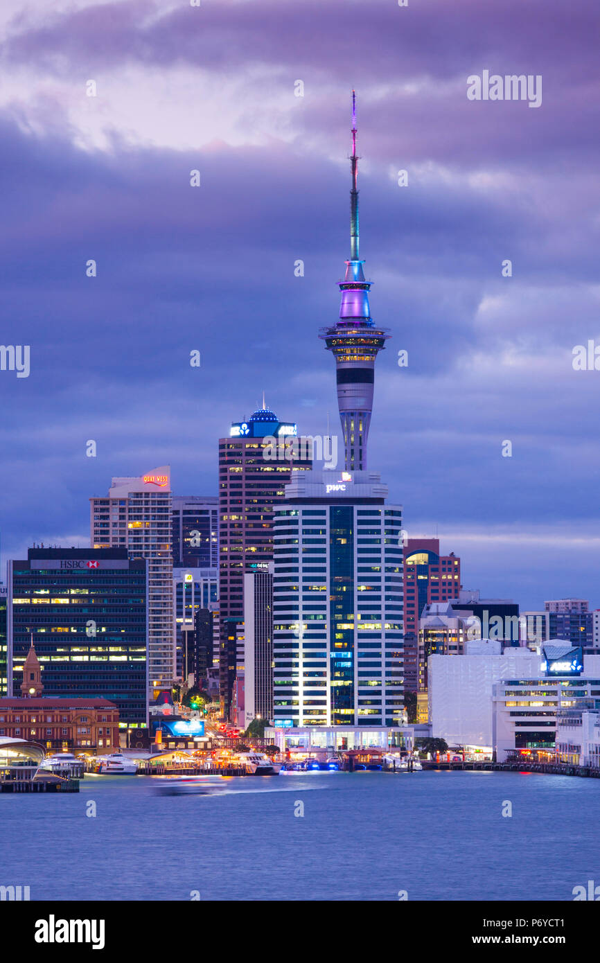New Zealand, North Island, Auckland, skyline view from Devonport, dawn - Stock Image