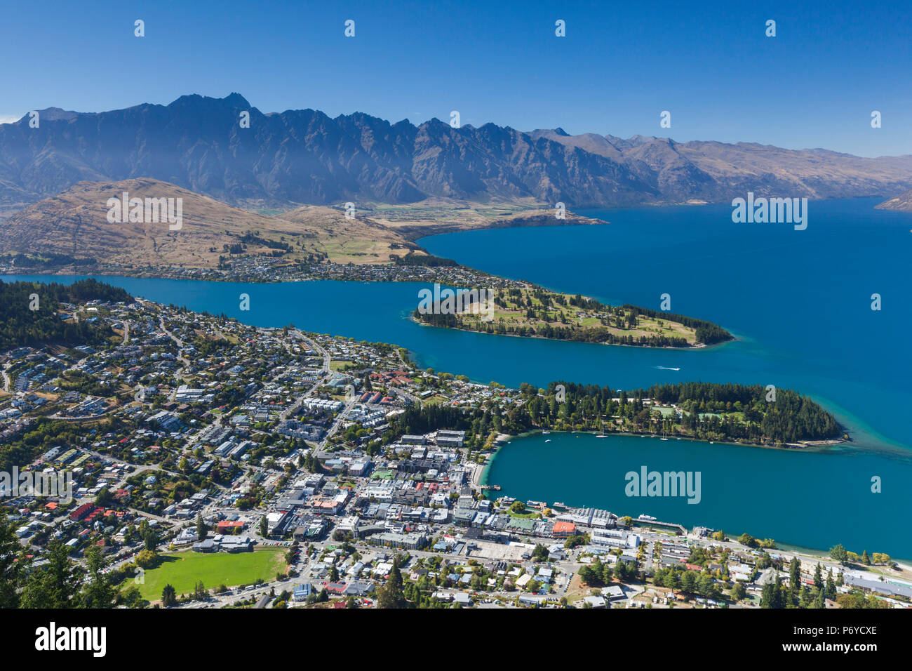 New Zealand, South Island, Otago, Queenstown, elevated town view from the Skyline Gondola deck - Stock Image