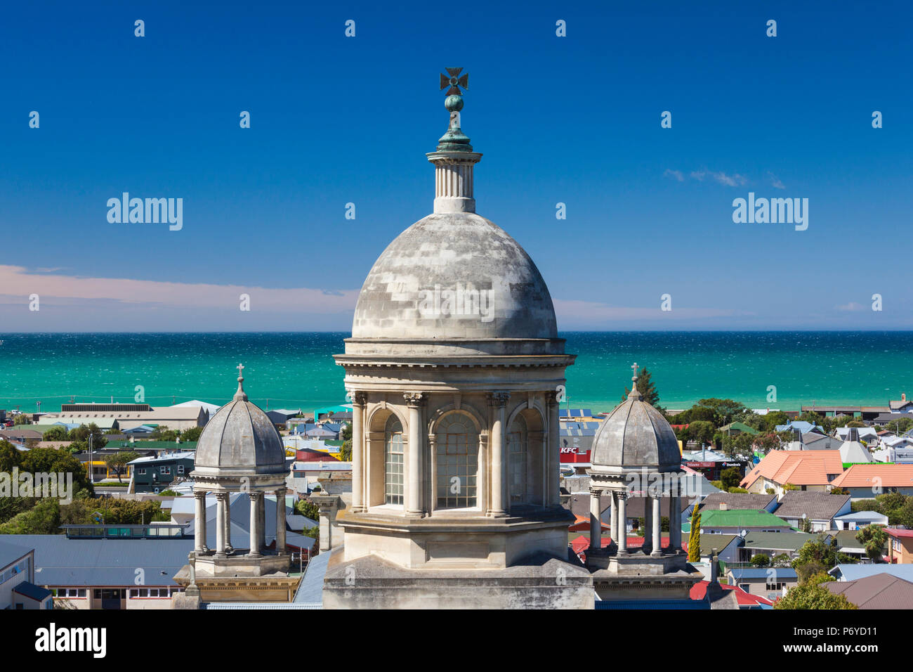 New Zealand, South Island, Otago, Oamaru, elevated view of St. Patrick's Basilica - Stock Image