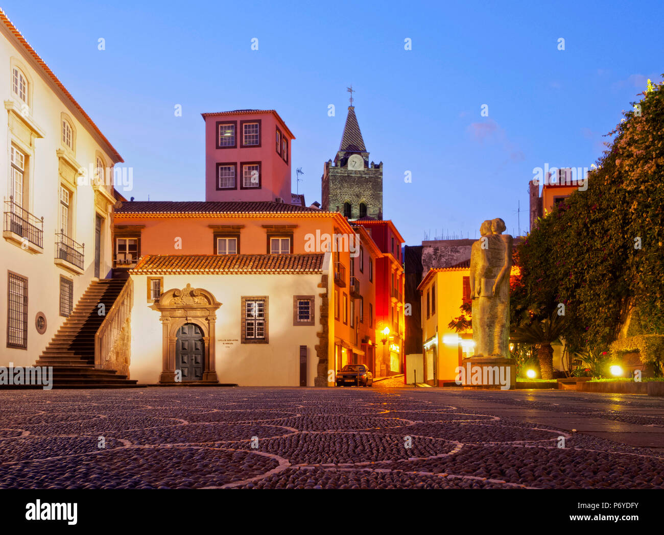 Portugal, Madeira, Funchal, Twilight view of the Old Town. - Stock Image