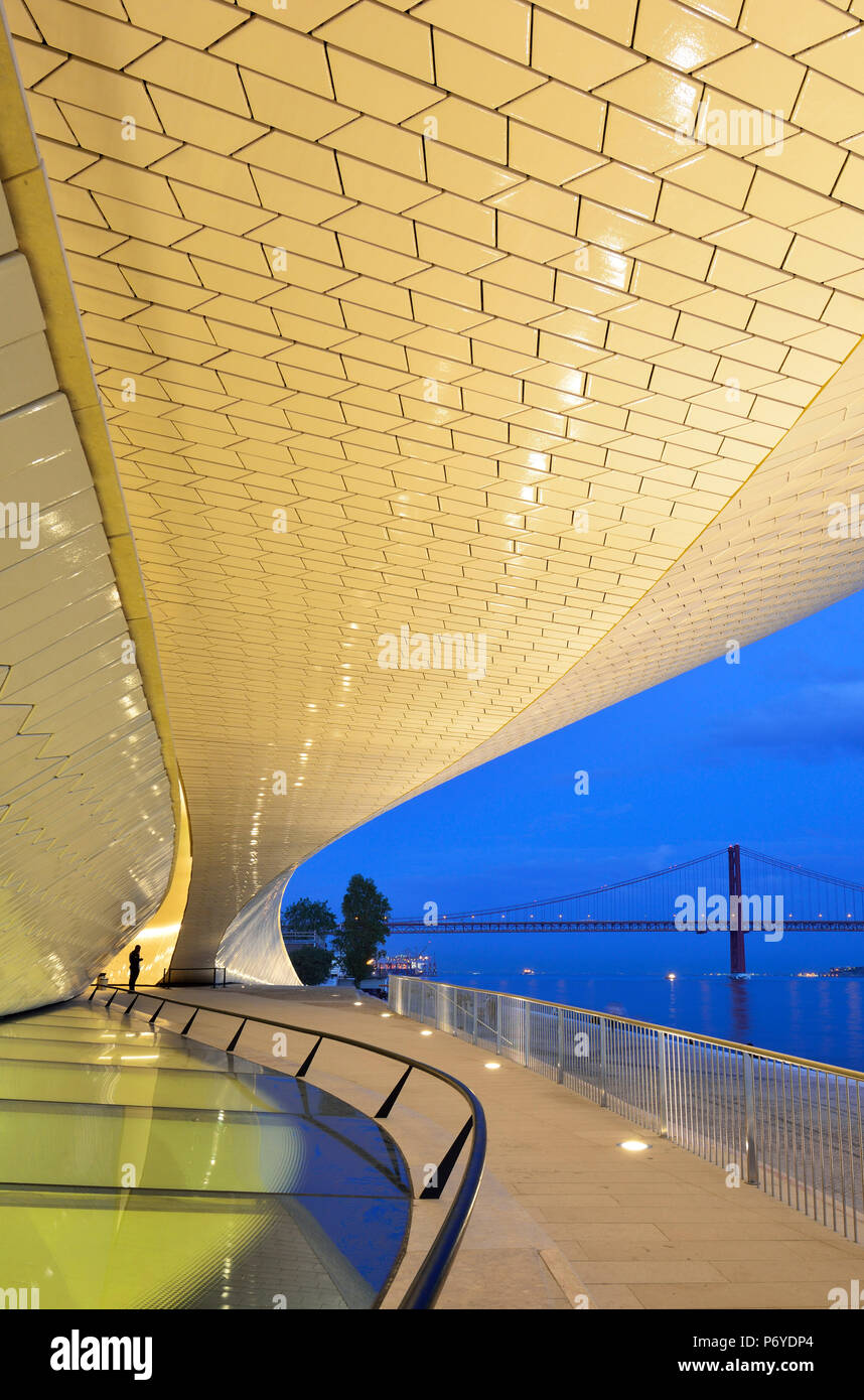 The MAAT (Museum of Art, Architecture and Technology), bordering the Tagus river, was designed by British architect Amanda Levete. Lisbon, Portugal Stock Photo