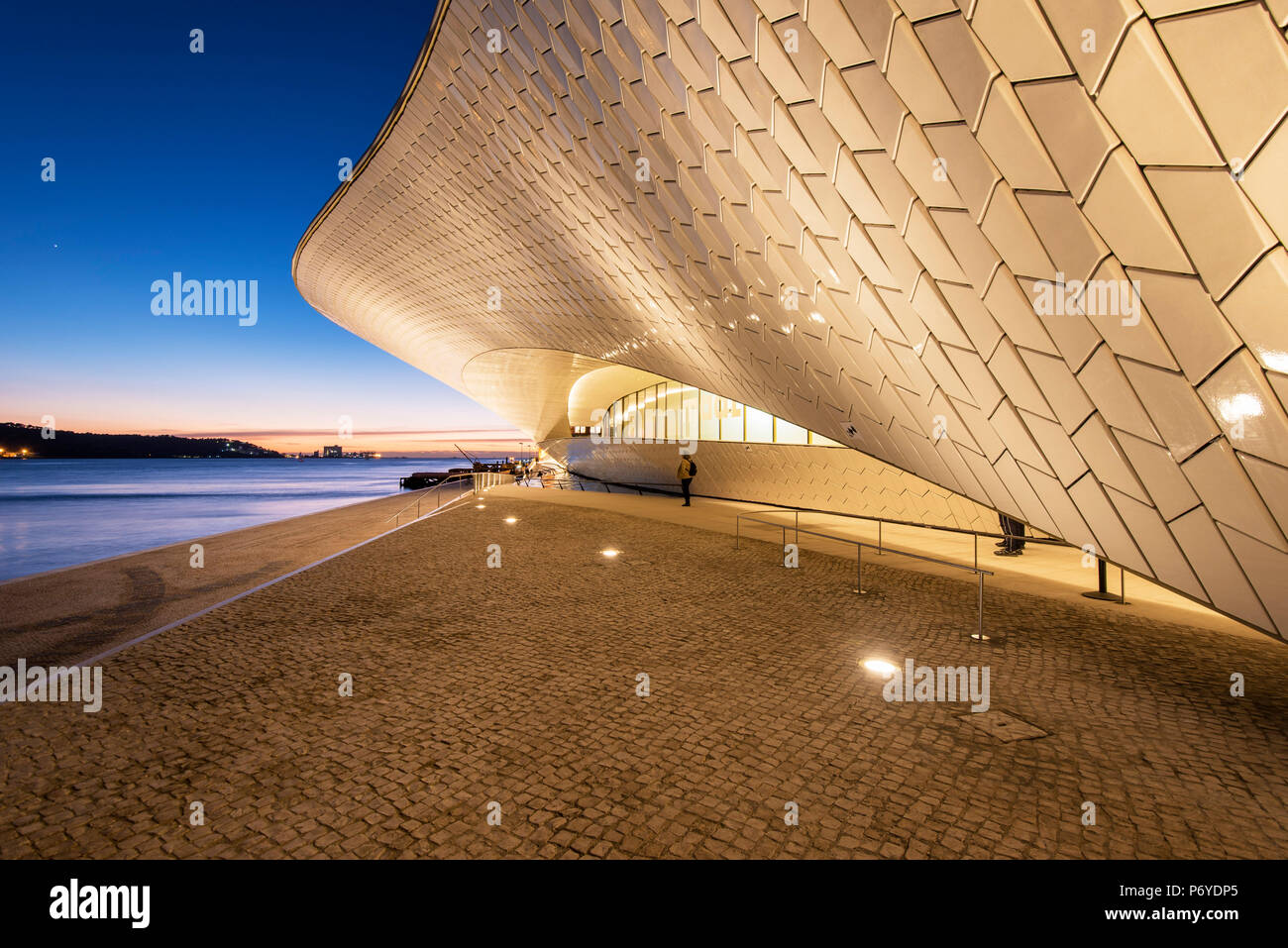 The MAAT (Museum of Art, Architecture and Technology), bordering the Tagus river, was designed by British architect Amanda Levete. Lisbon, Portugal - Stock Image