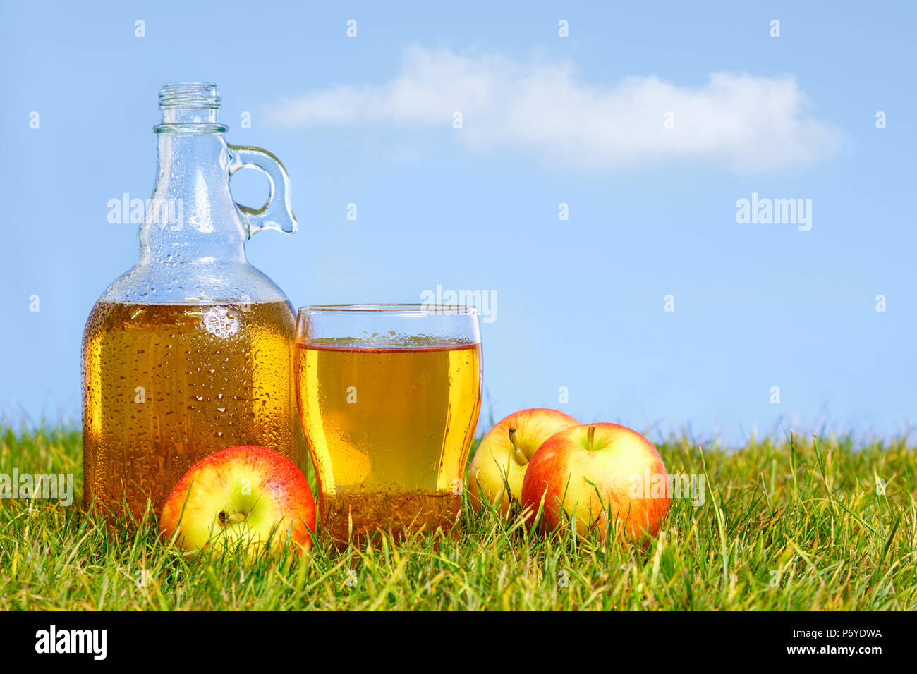 An ice cold flagon of fresh apple cider with pint glass amongst green grass in an orchard on a hot summers day. Stock Photo