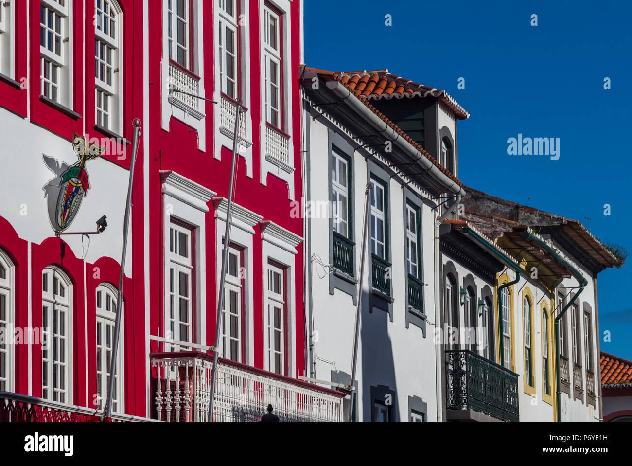 Portugal, Azores, Terceira Island, Angra do Heroismo, Rua Direita street - Stock Image
