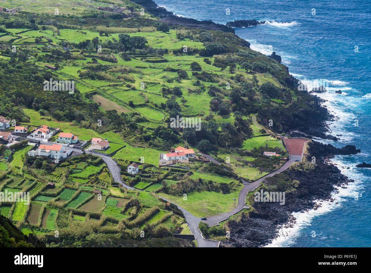 Portugal, Azores, Faial Island, Baia de Ribeira of Porto da Faja - Stock Image