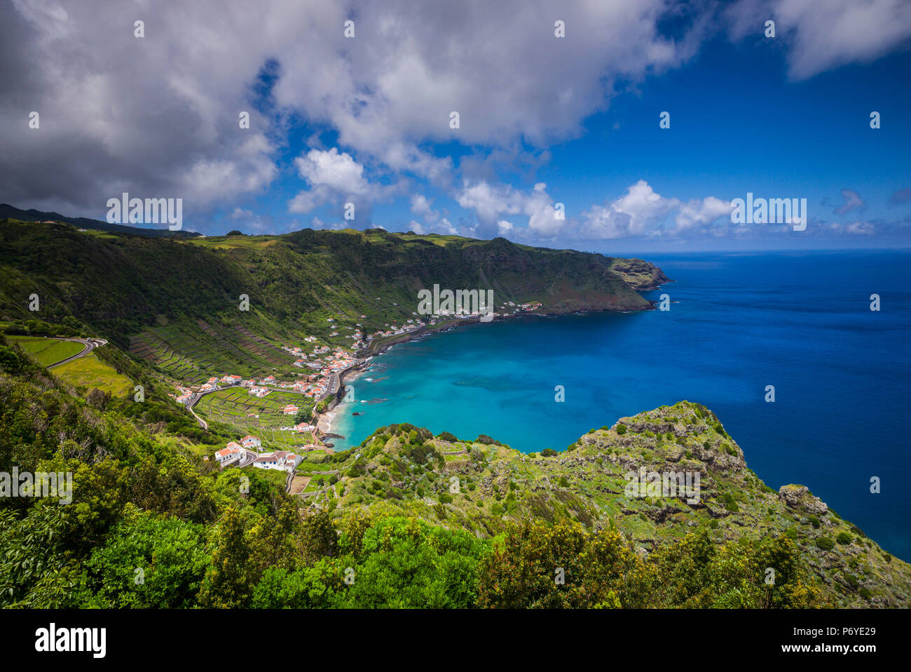 Portugal, Azores, Santa Maria Island, Sao Lourenco with the Baia do Sao Lourenco bay - Stock Image