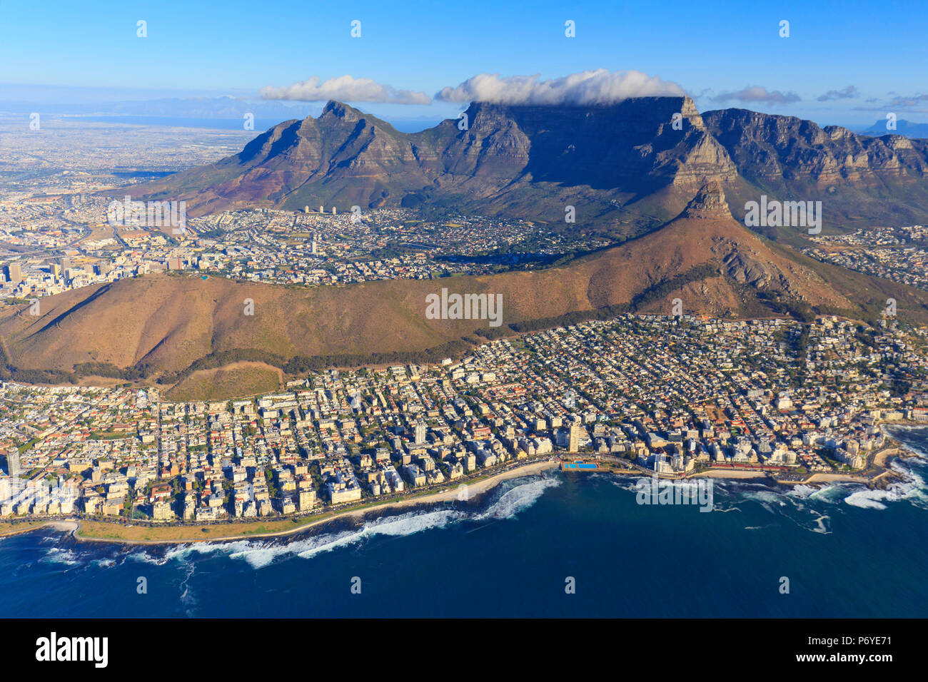 South Africa, Western Cape, Cape Town, Aerial View of Cape Town and Table Mountain - Stock Image