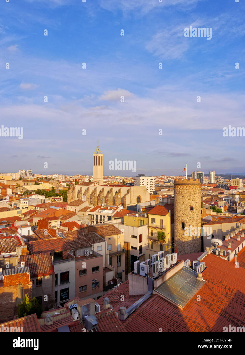 Spain, Catalonia, Barcelona Province, Terrassa, Elevated view of the city with the Torre del Palau and the Catedral Basilica del Sant Esperit. - Stock Image