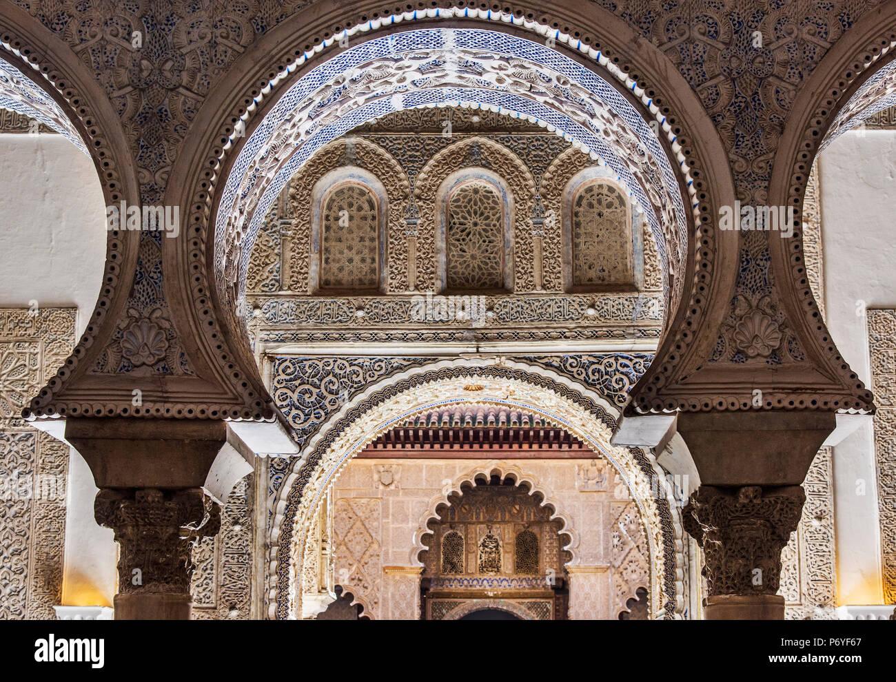 Moorish architecture inside the Alcazar, Seville, Andalusia, Spain Stock Photo