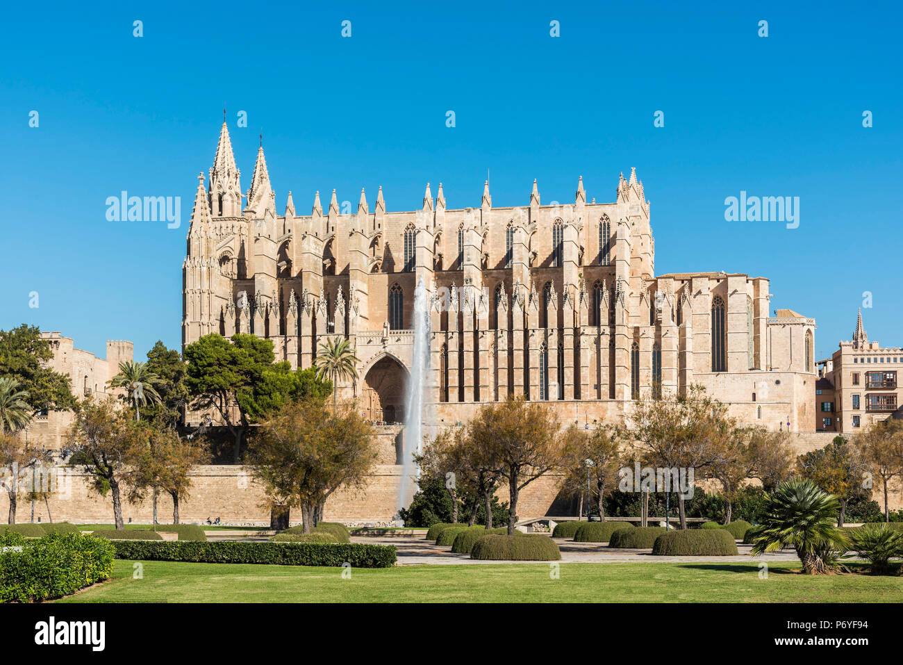 The Cathedral of Santa Maria of Palma or Catedral de Santa Maria de Palma de Mallorca, Palma, Majorca, Balearic Islands, Spain - Stock Image