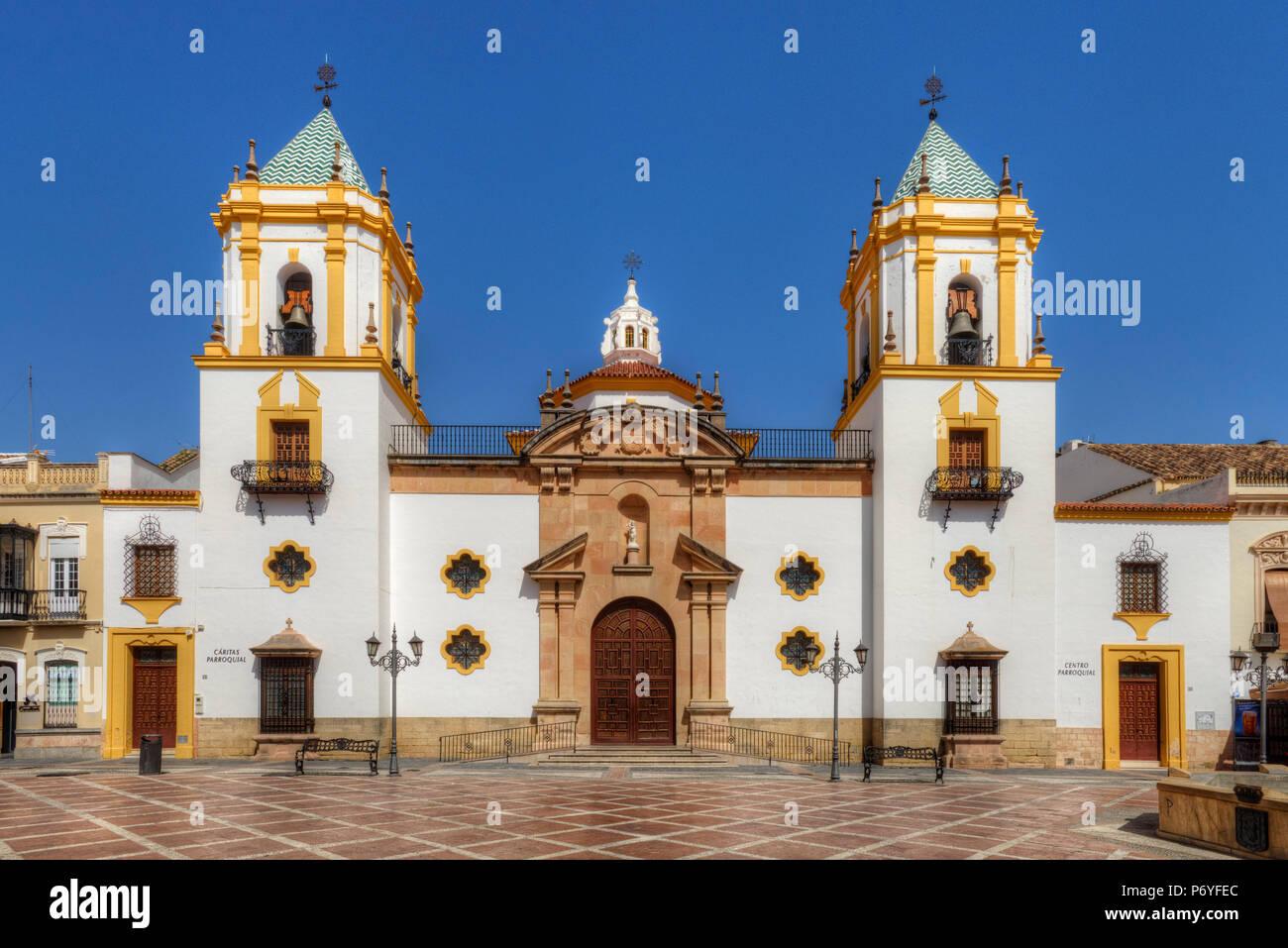 The Socorro Church in Ronda at Plaza del Socorro, Andalusia, Spain - Stock Image