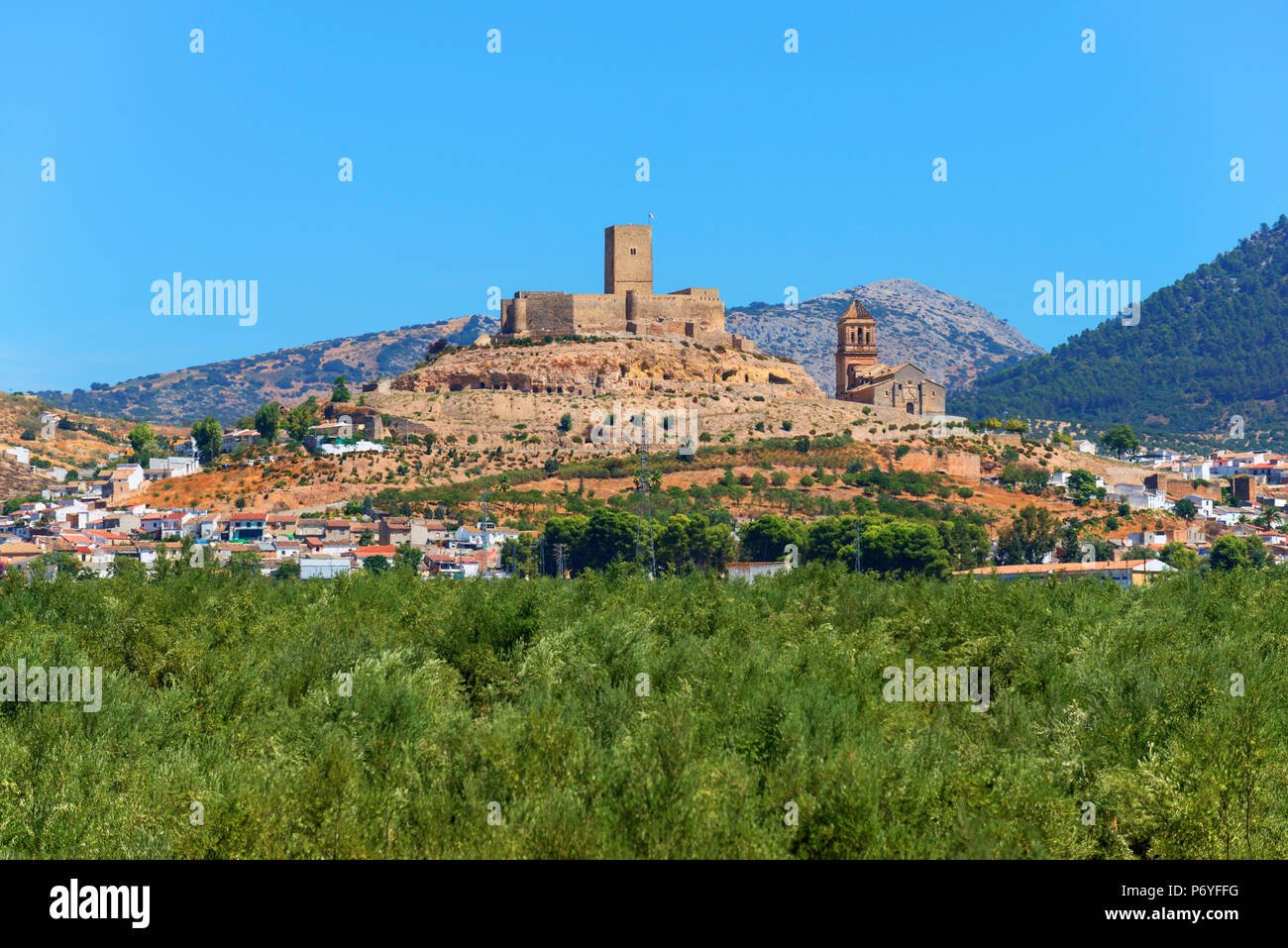 View at Alcaudete with castle, Andalusia, Spain - Stock Image
