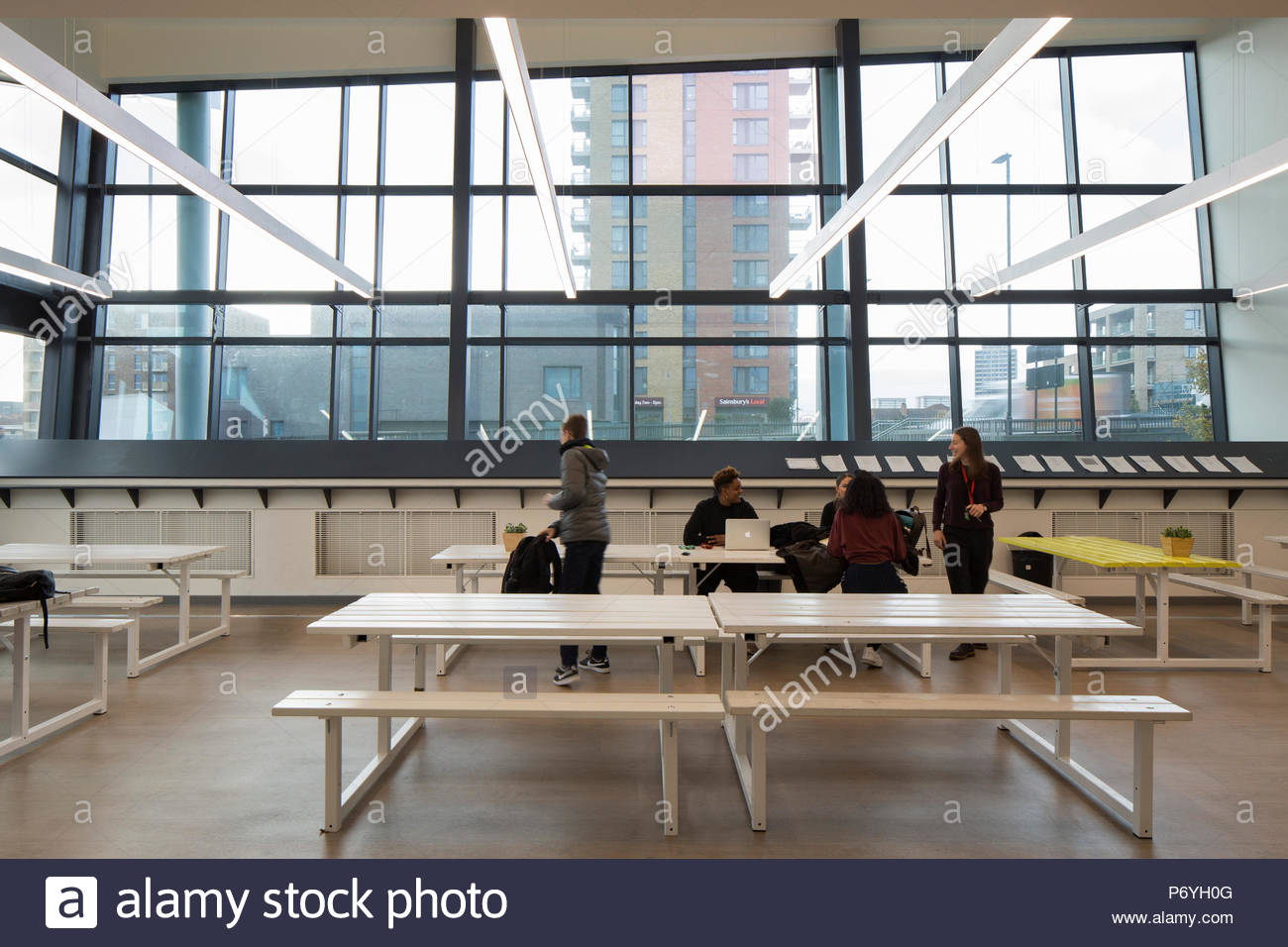 View of canteen. ELAM, London, United Kingdom. Architect: Hunters South, 2018. - Stock Image