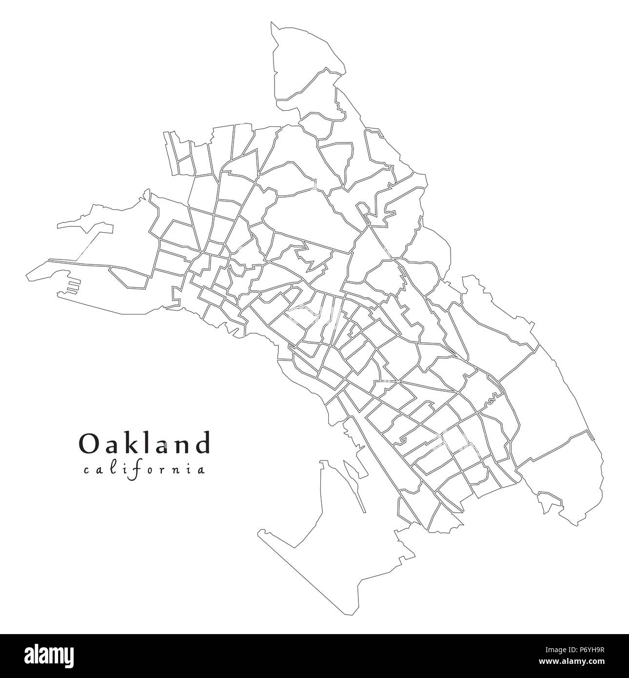 Modern City Map - Oakland California city of the USA with ... on lancaster map outline, chico map outline, inglewood map outline, fullerton map outline, san francisco map outline, washington and oregon map outline, usa map outline, inyo county map outline, avalon map outline,