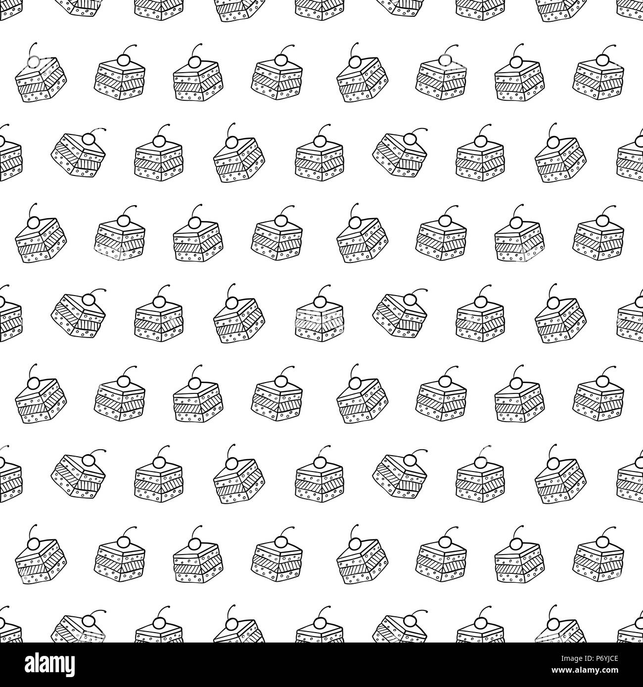 Cartoon cute cakes on white background. Simple seamless pattern. Linear coloring illustration. - Stock Image