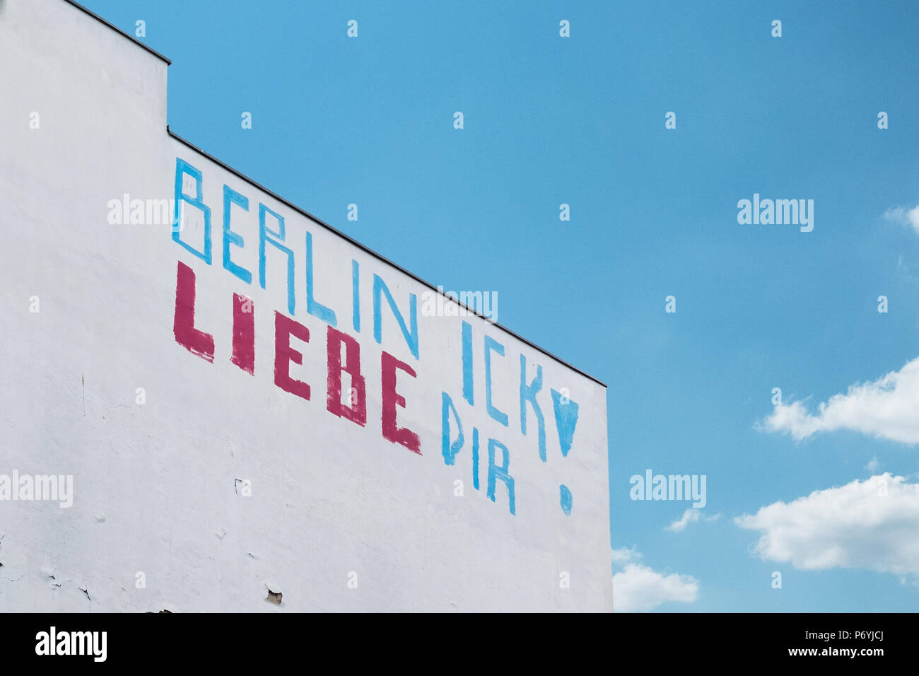 BErlin, Germany - june 2018: Graffiti slogan on building facade saying: Berlin, I love you (german: Berlin Ick liebe Dir) - Stock Image