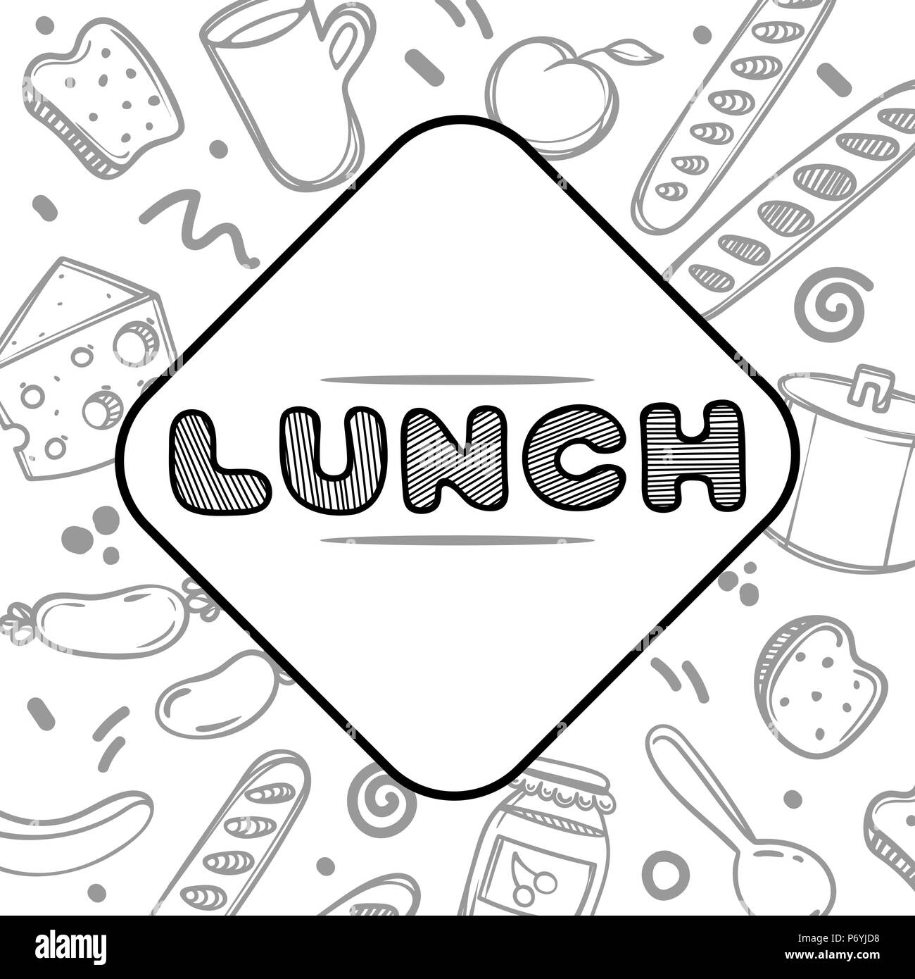 cute hand drawn poster menu for cafe on food background with lunch