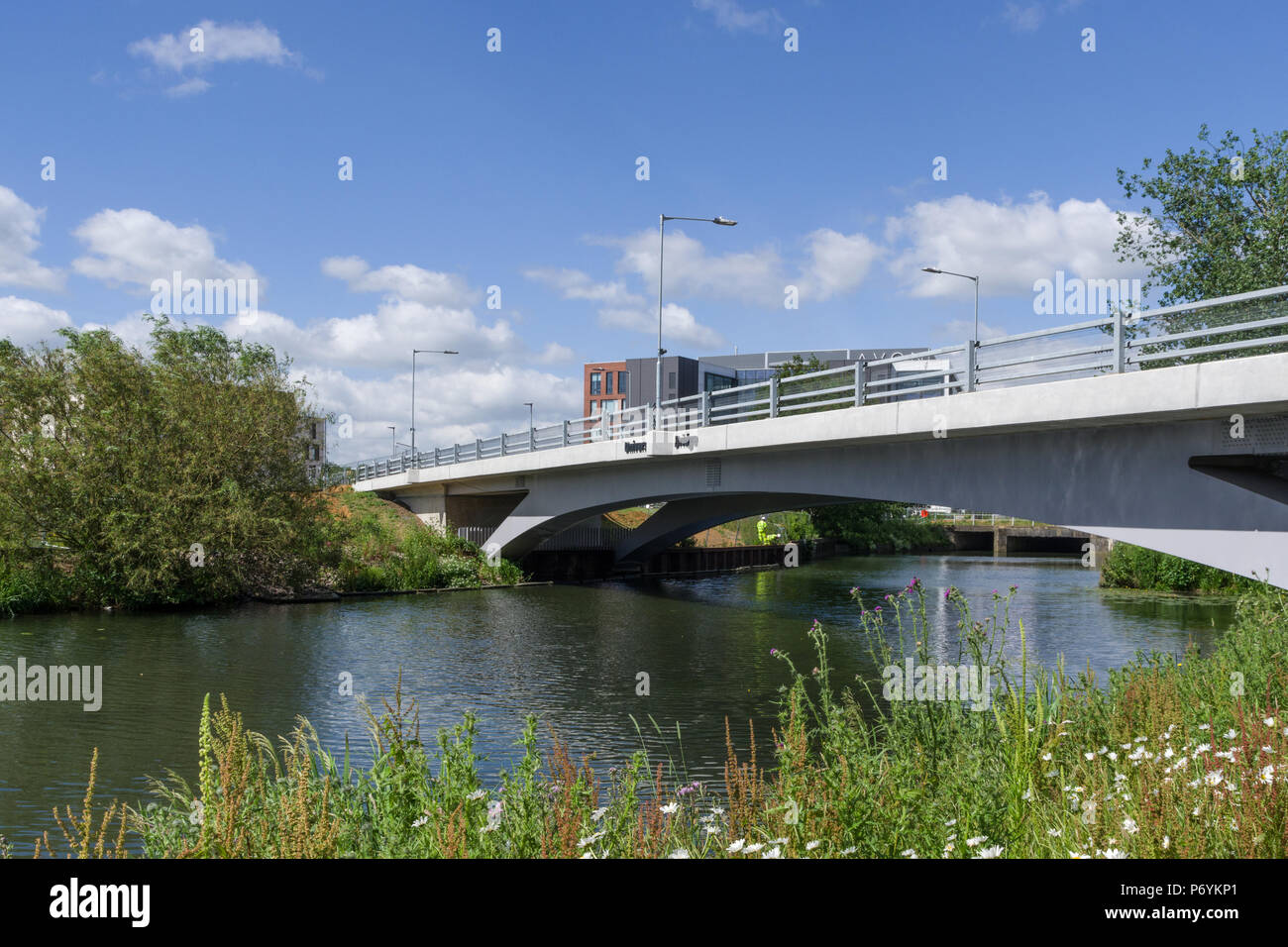 University Bridge, a road bridge crossing the River Nene and leading to the new Waterside Campus due to open in September, 2018; Northampton, UK - Stock Image
