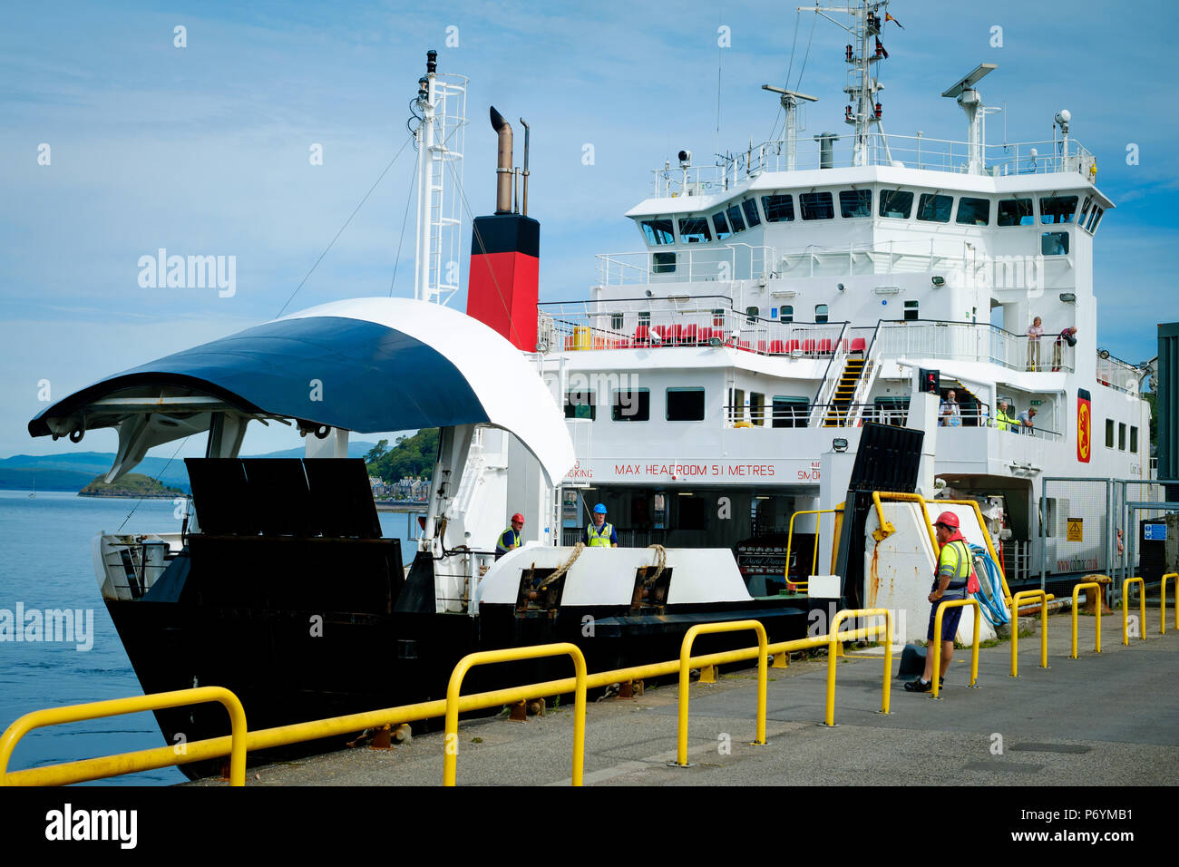 Caledonian MacBrayne ferry MV Coruisk coming in to dock at Oban, Scotland , before sailing to Craignure on the Isle of Mull, June 2018 Stock Photo