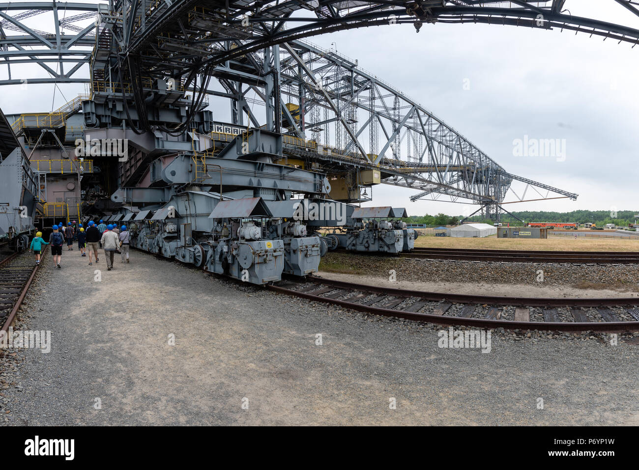F60 is the series designation of five overburden conveyor bridges used in brown coal (lignite) opencast mining in the Lusatian coalfields in Germany.  Stock Photo