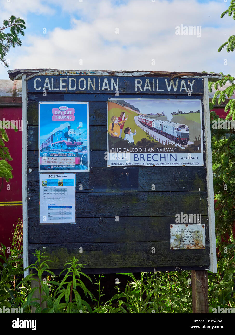 The Old Noticeboard for Coming Events at the Caledonian Railways Bridge of Dun Station Car Park in Angus, Scotland. - Stock Image