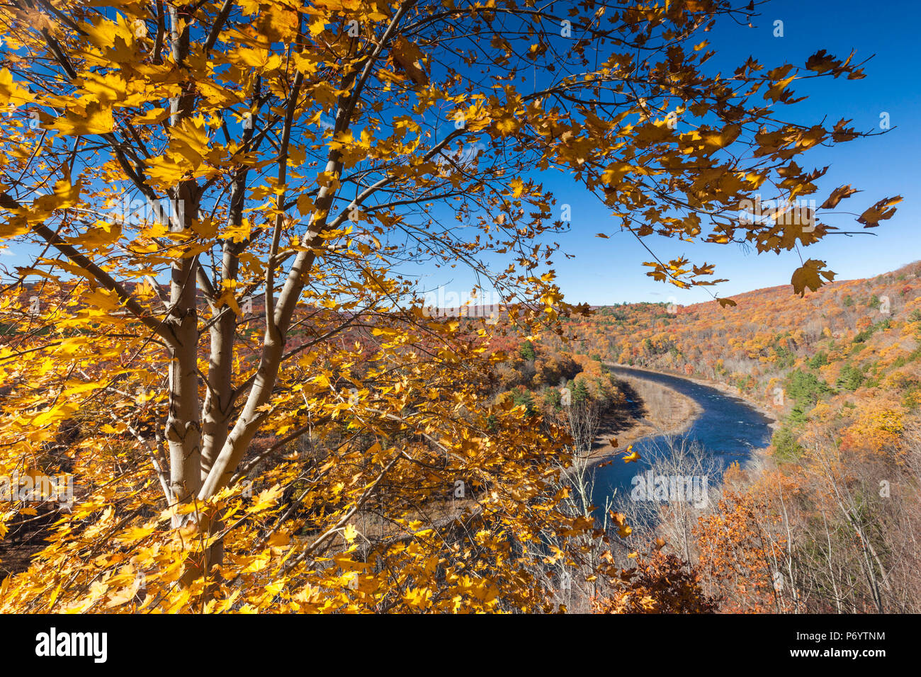 USA, Pennsylvania, Pocono Mountains, Port Jervis, elevated view of the Delaware River, autumn - Stock Image