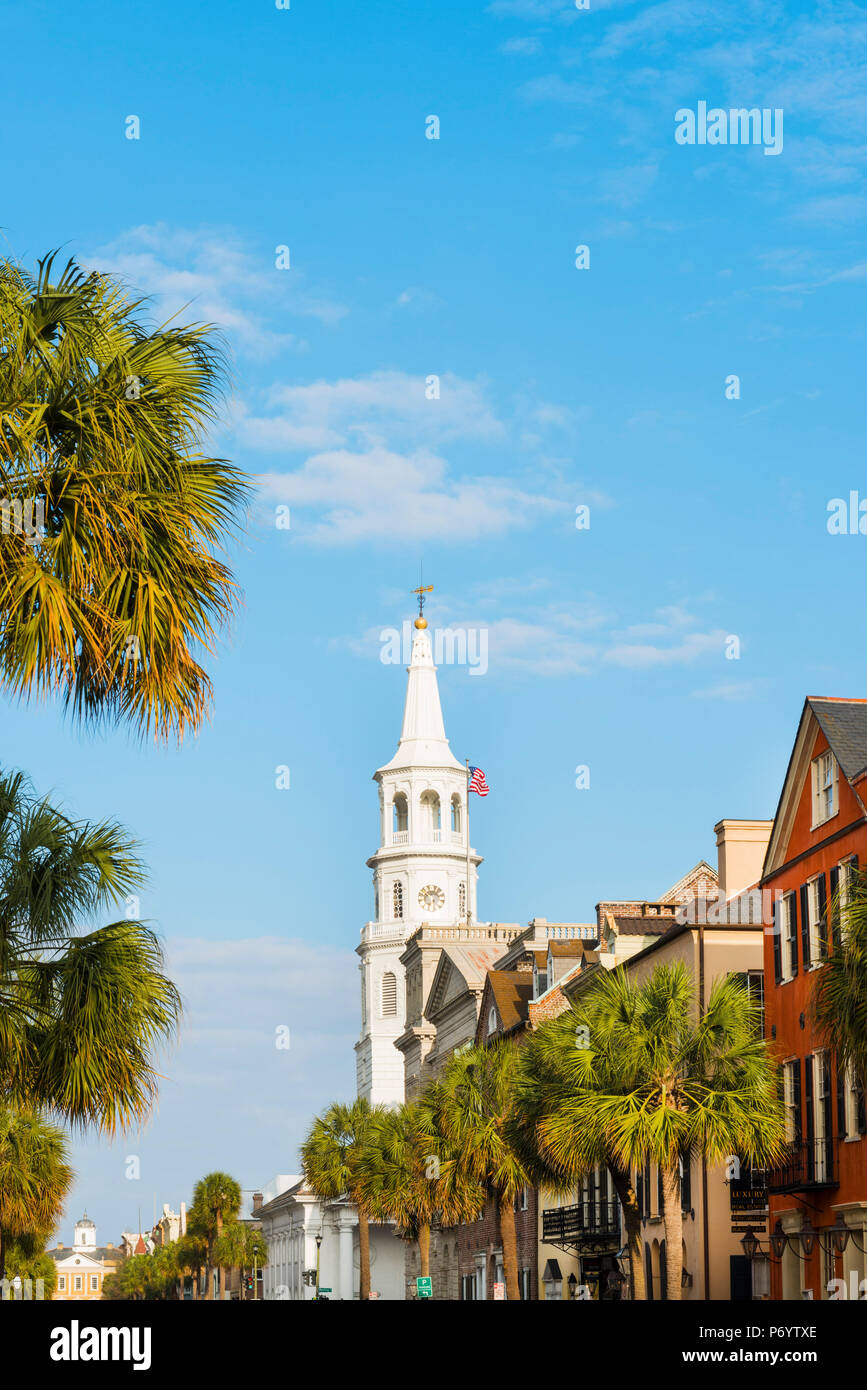 USA, South Carolina, Charleston, Colourful Buildings and St Michaels church in the historcial district Stock Photo