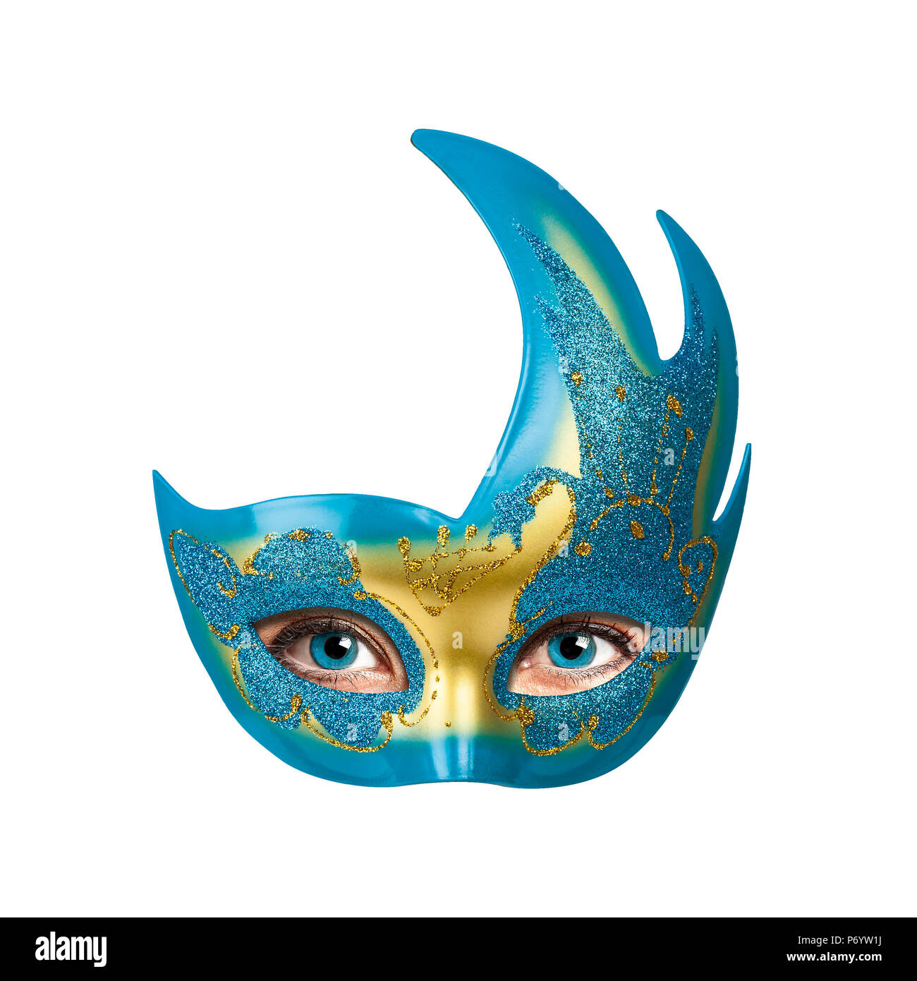 Woman Eyes Behind colorful Carnival mask - Stock Image